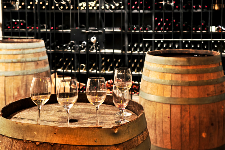 Wine  glasses and barrels